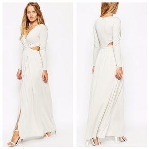 ASOS draped plunge cutout maxi dress grayish white